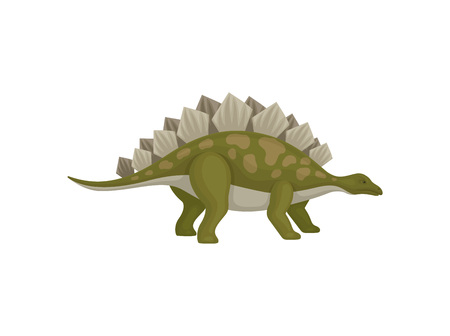 Illustration of green stegosaurus. Dinosaur with spines on back. Animal from Jurassic period. Flat vector design