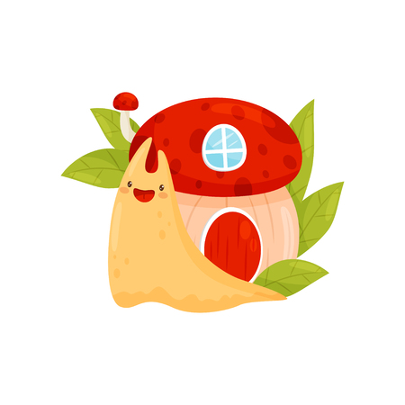 Cute snail with shell house on its back, funny mollusk cartoon character vector Illustration on a white background