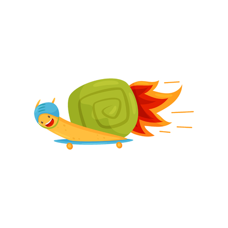 Funny snail with turbo speed booster, cute fast mollusk cartoon character vector Illustration on a white background