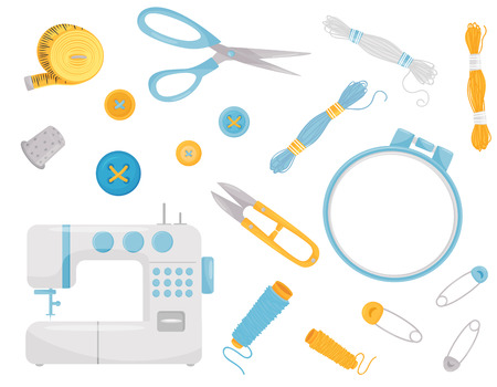 Set of various sewing supplies and equipment. Professional dressmaking instruments. Graphic elements for promo poster of needlework shop. Colorful flat vector icons isolated on white background.