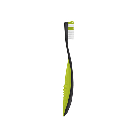 Black-green toothbrush, side view. Oral hygiene instrument. Small brush with long plastic handle, used for cleaning teeth. Colorful vector illustration in flat style isolated on white background.