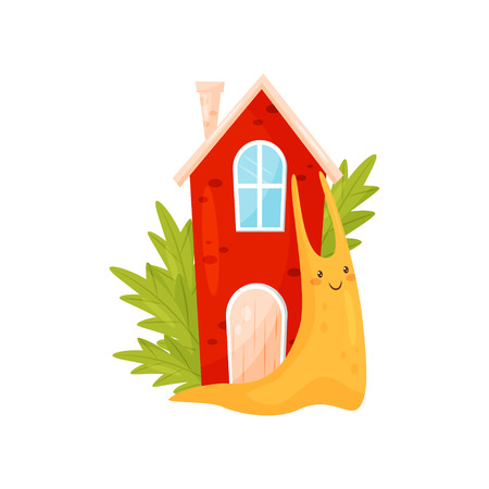Smiling snail with red cozy house on its back, funny mollusk cartoon character vector Illustration on a white background
