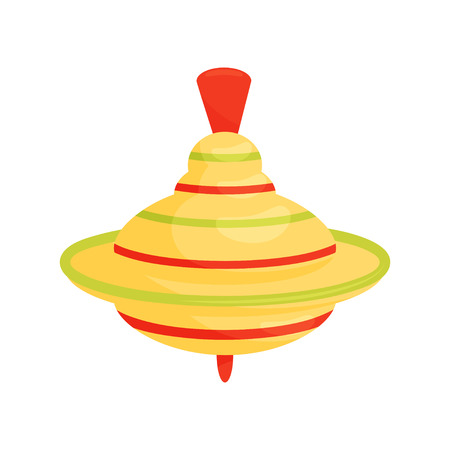 Bright yellow whirligig with red and green stripes. Humming top. Vintage children toy. Graphic element for baby shower poster or greeting card. Flat vector illustration isolated on white background.