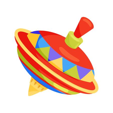Trottola vintage. Giocattolo multicolori di trottola per bambini. Ronzio in plastica. Icona di vettore piatto