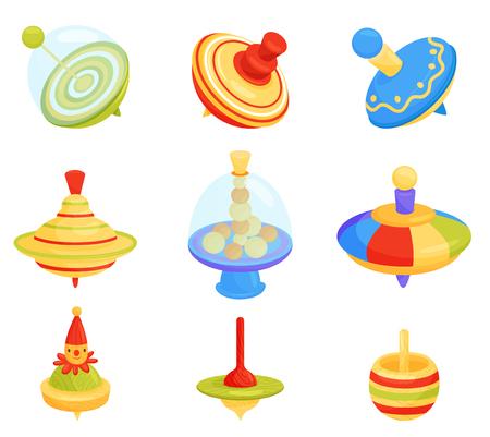 Set di diversi ronzii in alto. Giocattoli per bambini. Gioco di sviluppo per bambini. Articolo per il gioco a terra. Tema d'infanzia divertente. Illustrazioni vettoriali colorate in stile piatto isolato su sfondo bianco Vettoriali