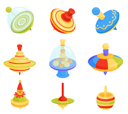 Set of different humming top. Children whirligig toys. Kids development game. Item for play on the ground. Fun childhood theme. Colorful vector illustrations in flat style isolated on white background Vektorové ilustrace