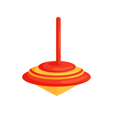 Icon of bright red-orange whirligig. Plastic spinning top. Children toy. Items for kids games. Fun childhood theme. Cartoon vector design. Colorful flat illustration isolated on white background.