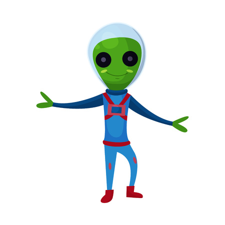 Smiling green alien with big eyes wearing blue space suit, alien positive character cartoon vector Illustration on a dark blue background
