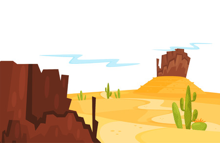 Landscape of sandy desert with green cacti and brown rocky mountains. Cartoon natural scenery. Graphic design for children book or poster of travel agency. Colorful vector illustration in flat style.