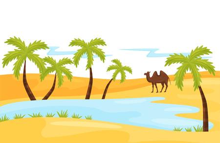 Paesaggio sabbioso con lago blu, cammello marrone e palma. Oasi nel deserto. Scenario naturale. Progettazione grafica per libro per bambini o poster di agenzia di viaggi. Illustrazione vettoriale colorato in stile piatto Vettoriali