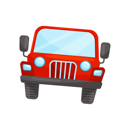 Flat vector icon of bright red jeep, front view. Passenger automobile. Transport for riding by desert