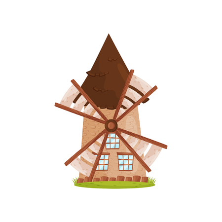 Old stone windmill with wooden sails and big windows. Agricultural construction. Farm theme. Cartoon vector design Reklamní fotografie - 114853484