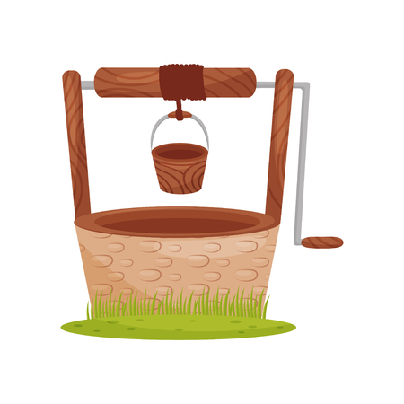 Old stone water well, wooden bucket hangs on rope. Element for rural landscape. Farm theme. Graphic design for children book. Colorful vector illustration in flat style isolated on white background.