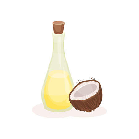 Transparent glass bottle of oil and half of ripe coconut. Natural product. Tropical fruit. Cooking and cosmetics theme. Cartoon style illustration. Flat vector design isolated on white background.
