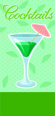 Creen cocktail with umbrella in martini glass banner, summer drink, cocktail party celebration flyer, invitation or card vector Illustration, colorful design element Illustration