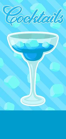Blue alcoholic cocktail banner, summer drink, cocktail party celebration flyer, invitation or card vector Illustration, colorful design element