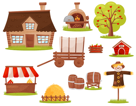 Set of icons related to farm theme. Small house, wood-fired oven, fruit tree, pile of hay, market stall. Colorful illustrations in flat style isolated on white background. Cartoon vector design.