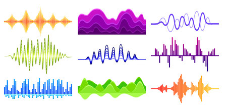 Set of different music waves. Sound pulse. Digital waveforms. Audio equalizer. Musical technology theme. Graphic elements for mobile app. Colorful vector illustrations isolated on white background.