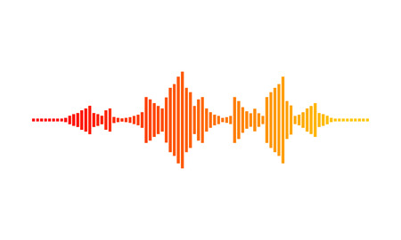 Music wave. Digital waveform. Sound frequencies. Gradient with red, orange and yellow colors. Vector design