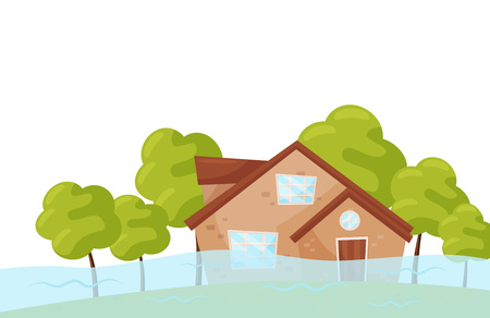 Scene with flooded house and green trees. Flood disaster. Natural catastrophe. Emergency situation. Flat vector design for advertising poster or banner of insurance company. Cartoon illustration.