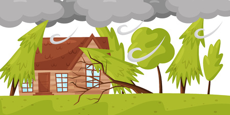 Strong wind breaks trees. Living house and huge gray clouds. Natural disaster. Windstorm theme. Flat vector design