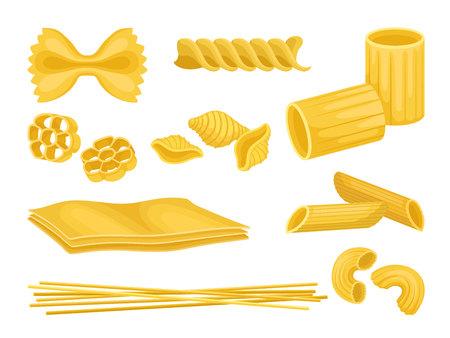 Set di pasta italiana di diverse forme. Maccheroni crudi. Prodotto alimentare. Elementi grafici per il confezionamento del prodotto o ricettario. Icone vettoriali colorate in stile piano isolato su priorità bassa bianca. Vettoriali