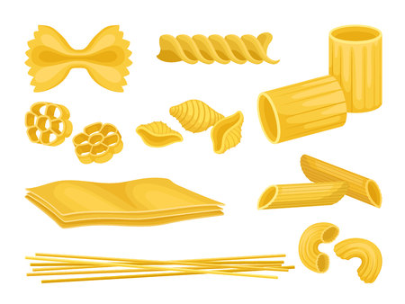 Set of Italian pasta of different shapes. Uncooked macaroni. Food product. Graphic elements for product packaging or recipe book. Colorful vector icons in flat style isolated on white background. Vetores