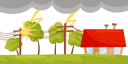 Cartoon scene with small living house, lightning strikes on electricity line. Strong thunderbolt. Hazardous situation. Dangerous natural disaster. Thunderstorm theme. Colorful flat vector illustration