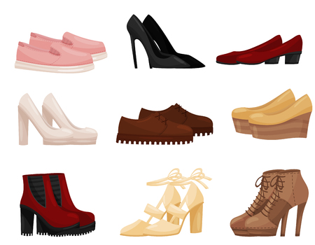 Collection of different female shoes, side view. Trendy women footwear. Fashion theme. Graphic element for store advertising. Colorful vector illustrations in flat style isolated on white background. Ilustracja