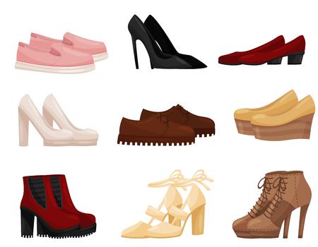 Sammlung verschiedener weiblicher Schuhe, Seitenansicht. Trendige Damenschuhe. Thema Mode. Grafisches Element für Ladenwerbung. Bunte Vektorillustrationen im flachen Stil lokalisiert auf weißem Hintergrund.