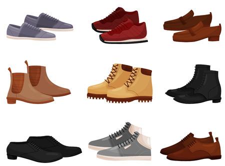 Ensemble de chaussures différentes pour hommes et femmes, vue latérale. Chaussures décontractées et formelles pour hommes. Thème de la mode. Élément graphique pour la publicité en magasin. illustrations vectorielles dans un style plat isolé sur fond blanc