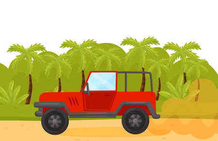 Red jeep on sandy road in wild green jungles. Tropical landscape. Summer scenery. Journey theme. Flat vector design