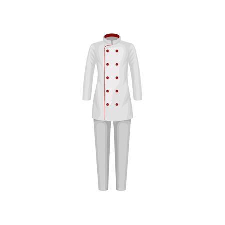 Uniform of restaurant cook. Female double-breasted jacket with red buttons and pants. Chef wear. Clothes of kitchen worker. Workwear theme. Colorful flat vector design isolated on white background.