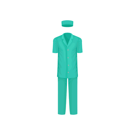 Male surgical suit. Classic clothes of medical worker. Teal short-sleeved shirt, pants and hat. Garment of hospital staff. Colorful vector illustration in flat style isolated on white background.  イラスト・ベクター素材