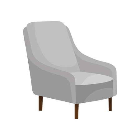 Comfortable armchair with soft gray upholstery and wooden legs. Modern furniture for living room. Cozy chair. Object for home interior. Colorful flat vector illustration isolated on white background.