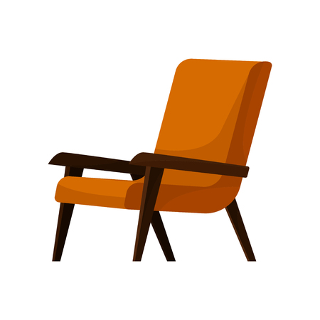 Stylish retro armchair with soft bright orange upholstery, wooden arms and legs. Comfortable chair for living room. Cushioned furniture. Colorful flat vector illustration isolated on white background.