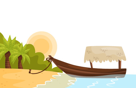 Tropical landscape with sandy beach, palm trees, sun and boat on shore of island. Summer travel theme. Cartoon natural scenery. Colorful flat vector illustration for promo poster of tourist agency. Illustration