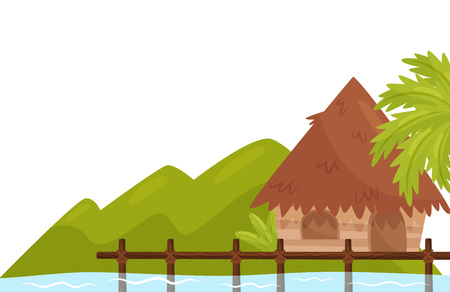 Small bungalow on shore of ocean. Tropical island with palm tree and wild green plants. Natural scenery. Colorful summer landscape. Cartoon flat vector illustration for promo poster or travel agency.