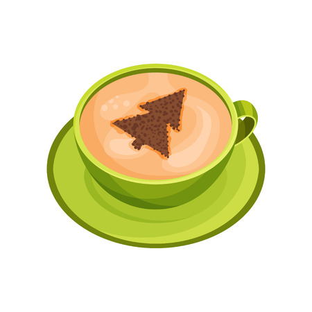 Cup of delicious coffee with drawing of Christmas tree on foam made of cinnamon powder. Latte art. Green mug of fresh cappuccino on saucer. Tasty drink. Flat vector design isolated on white background Illustration