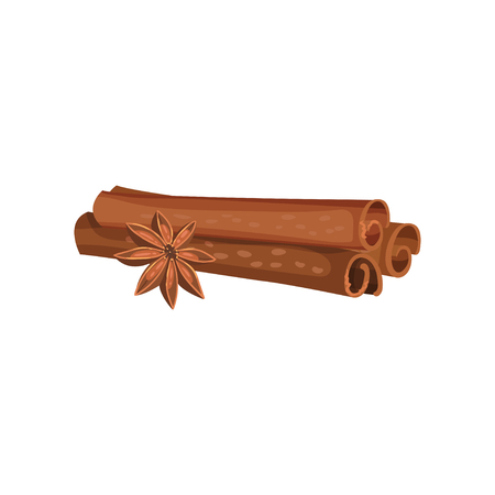 Detailed icon of three rolled cinnamon sticks and anise star. Aromatic spice. Fragrant condiment. Cooking ingredient. Graphic element for recipe book. Flat vector design isolated on white background.