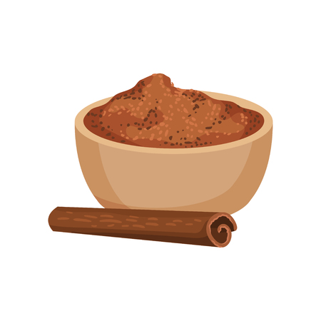 Ground cinnamon in ceramic bowl and one rolled stick. Fragrant spice. Aromatic seasoning. Condiment for dishes and drinks. Culinary theme. Detailed flat vector design isolated on white background.