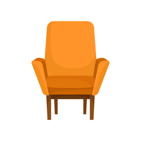 Classic wooden armchair with bright orange upholstery, front view. Cushioned furniture. Cozy soft chair for living room. Element of home interior. Flat vector illustration isolated on white background