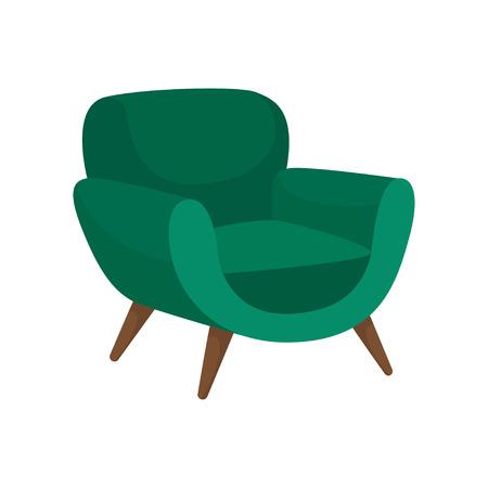 Comoda poltrona con rivestimento verde e gambe in legno. Comodo mobile imbottito per soggiorno. Elegante sedia morbida. Icona di vettore colorato. Illustrazione in stile piano isolato su priorità bassa bianca. Vettoriali