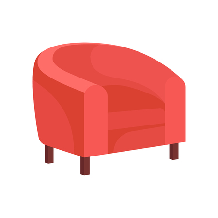 Icon of cozy armchair with pink upholstery. Soft tub chair for living room. Comfortable cushioned furniture. Element of home interior. Colorful flat vector illustration isolated on white background.