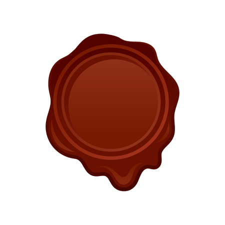 Round-shaped wax seal stamp in brown color. Retro postal symbol. Decorative graphic element for invitation or greeting card. Colorful vector illustration in flat style isolated on white background.