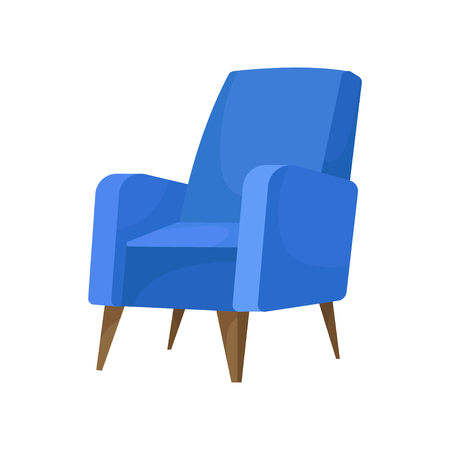 Cozy armchair with soft blue upholstery and brown wooden legs. Comfortable chair for living room. Interior design element. Cushioned furniture. Flat vector illustration isolated on white background.