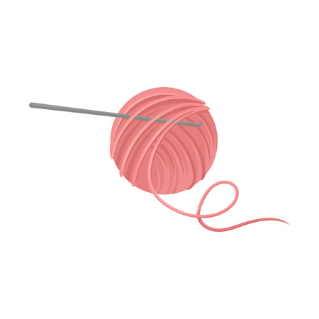 Pink ball of wool yarn with metal crochet hook or hooked needle. Tools for handicraft. Hobby and leisure theme. Colorful illustration in flat style isolated on white background. Cartoon vector design.