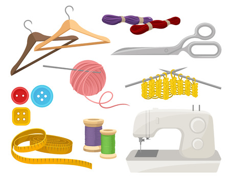 Sammlung von Objekten zum Thema Nähen und Stricken. Schneiderinstrumente und Materialien. Elektrische Nähmaschine. Bunte Vektorillustrationen im flachen Stil lokalisiert auf weißem Hintergrund.
