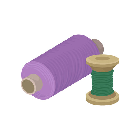 Bobbins with purple and green threads. Materials for sewing. Decorative graphic element for poster of needlework shop. Colorful flat illustration isolated on white background. Cartoon vector design.