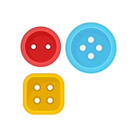 Two round and one square clothes button with small holes. Sewing accessories. Colorful graphic elements for poster of handicraft store. Cartoon flat vector illustration isolated on white background.